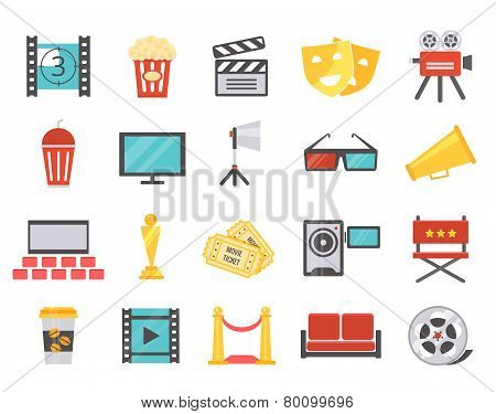 Modern cinema icons in flat style
