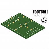 Soccer strategy formation type 4-5-1 vector EPS10. poster
