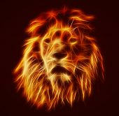 Abstract, artistic lion portrait. Fire flames fur, black background. Big adult lion with rich mane. poster