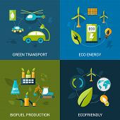 Bio fuel design concept set with green transport eco energy biofuel production flat icons isolated vector illustration poster