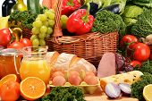 Composition with assorted organic grocery products. Balanced diet poster