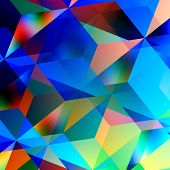 Geometric abstract background. Blue mosaic pattern. Triangle design. Color and art patterns. Illustration graphic. Chaotic clutter. Turquoise texture. Messy disorganized geometrical tiles. Digital concept. Geometry triangles. poster