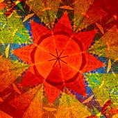 Kaleidoscopic mandala circular abstract pattern. Colorful background. Orange red generative art. Concentric multicolored geometric design. Digitally generated artistic star. Symmetrical decoration. Math concept. Color patterns. poster