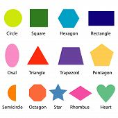 image of shapes chart for kids  isolate on white poster