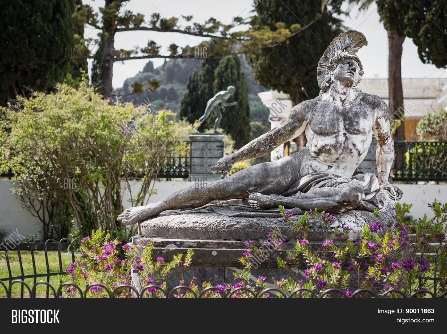 Famous statue Wounded Achilles in the garden of Achillion palace in Corfu, Greece