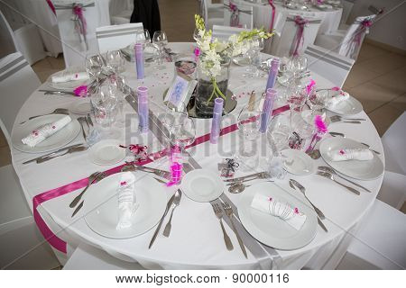 Interior Of A Wedding Banquet In Restaurant, Reception Venue Tables.