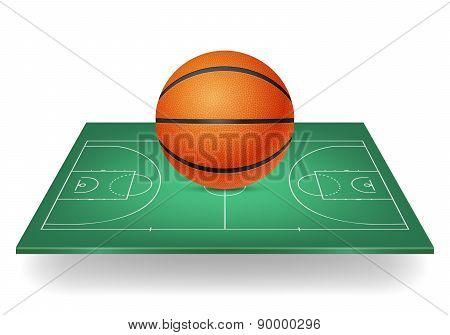 Basketball On A Green Court.