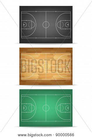 Set Of Basketball Courts In Different Colours. Isolated On White.