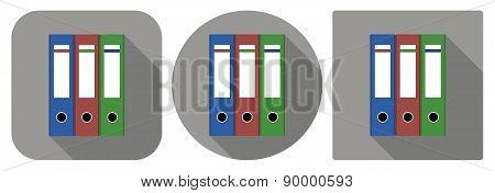 Icon Of Folders In Flat Design