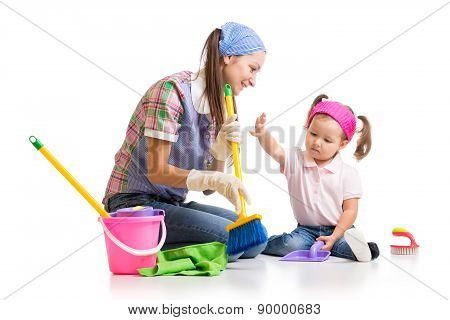mother teaches child cleaning room