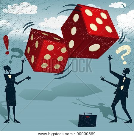 Abstract Business People With Gambling Dice Of Fortune.