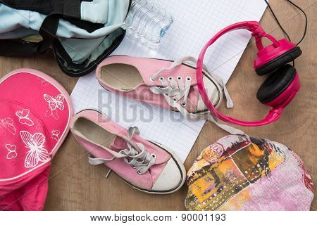 Outfit Of Girl Teenager, Young Girl . Overhead Of Essentials For Little Girl