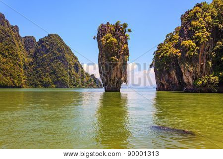 Whimsical island in the Andaman Sea. James Bond Island in the shape of a vase. Wonderful holiday in Thailand