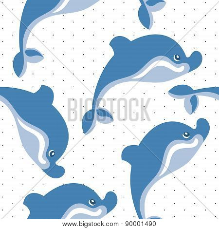 cartoon dolphins seamless background