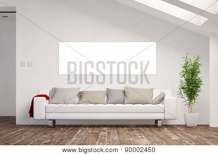Empty white panorama canvas on wall in living room attic (3D Rendering)