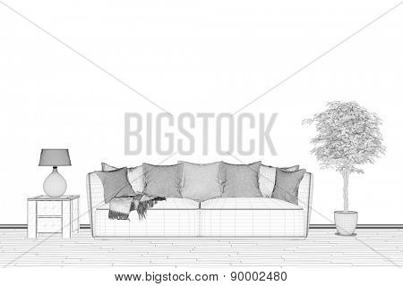 CAD planning of living room with wireframe mesh (3D Rendering)
