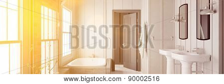 Panorama of bathroom with bathtub and sink flooded with sunlight (3D Rendering)