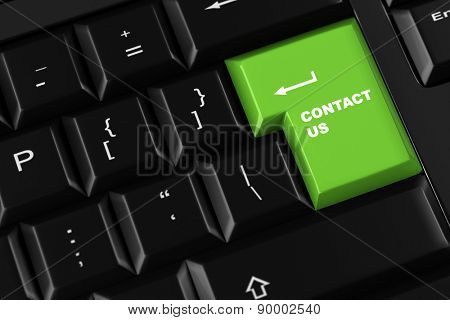 Contact us on a green key on a computer keyboard (3D Rendering)