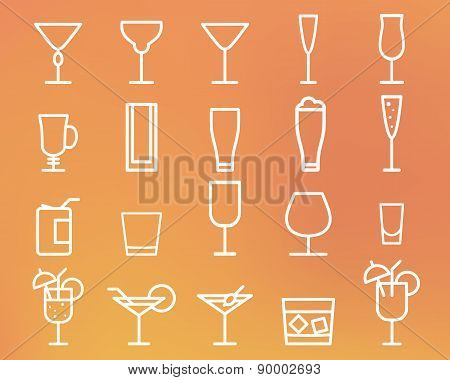 Beverage, drinks vector thin line symbol icon. Cocktails. Party outline elements isolated on sunny s