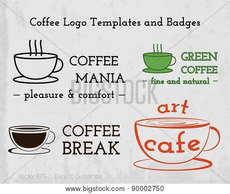 Set of Coffee cafe icons logo and business cards design.  For restuarant, cafe, shop. Branding