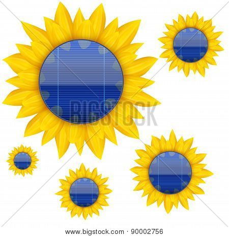 Background of Blue electric solar panel with sunflower. Vector