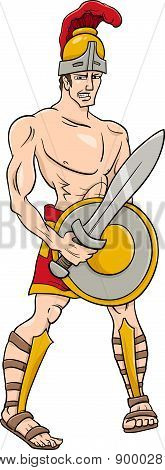 Greek God Ares Cartoon Illustration