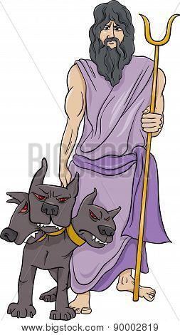 Greek God Hades Cartoon Illustration