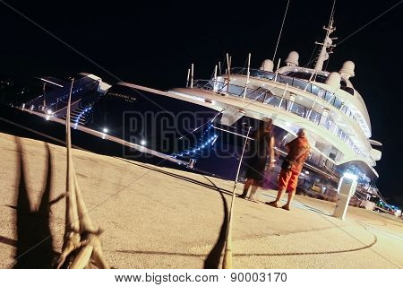 Moored Yacht In Rovinj