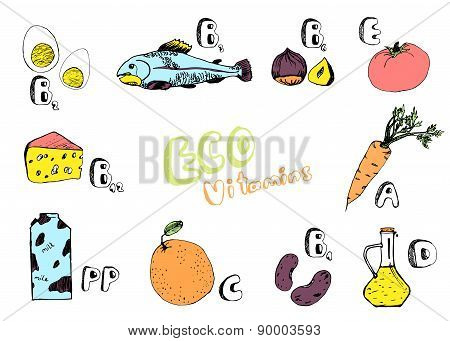 Colored Set Of Basic Vitamins From Food