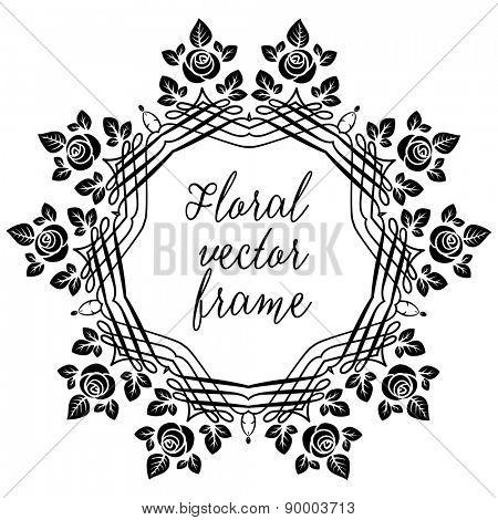 Floral retro frame for design, leaflet, cards, invitation and so on.