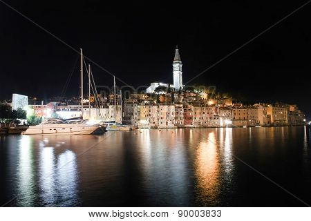 Saint Eufemia Bell Tower And Church In Rovinj At Night