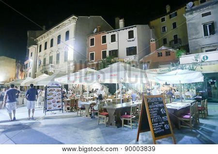 Restaurants On Promenade In Rovinj