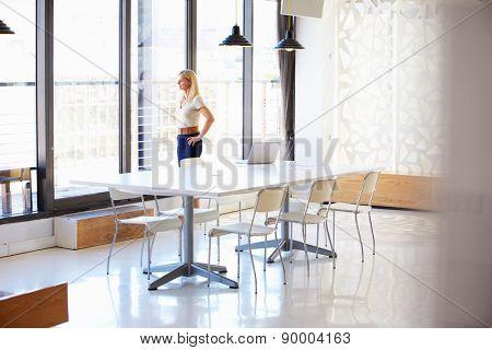 Woman working in empty meeting room