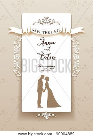 Elegant wedding invitation with bride and groom. Holiday design for leaflet, cards, invitation and so on. Place for text.