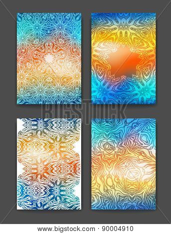 Abstract bright backgrounds, brochure templates. Abstract multicolor ethnic patterns for design, cards, invitation and so on.