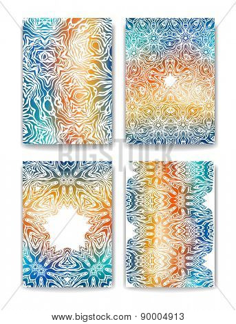 Set of backgrounds, brochure templates. Abstract ethnic pattern for design, cards, invitation and so on.