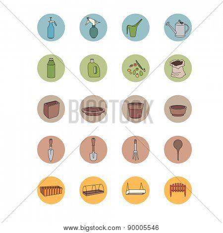 Gardening tools. Set of icons