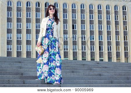 Portrait Of Beautiful Business Woman Posing Over Big Building