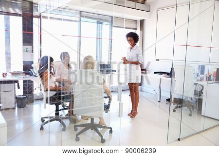 Businesswoman presenting meeting in an office