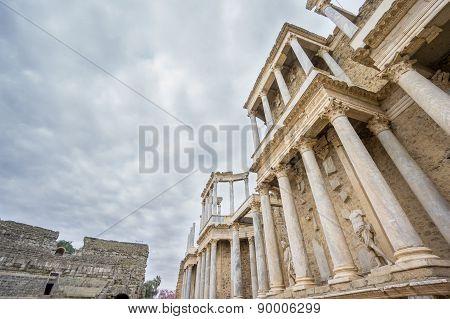 The Roman Theatre in Merida, Spain. Bottom-up View