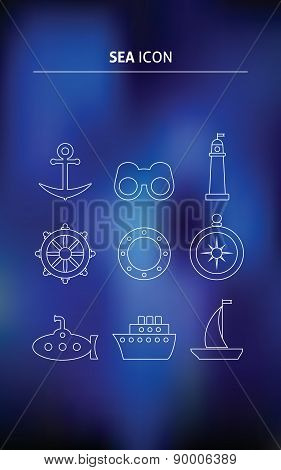 Vector sea line icon on a blurred background