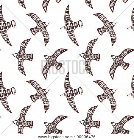 Vector seamless pattern with tribal birds