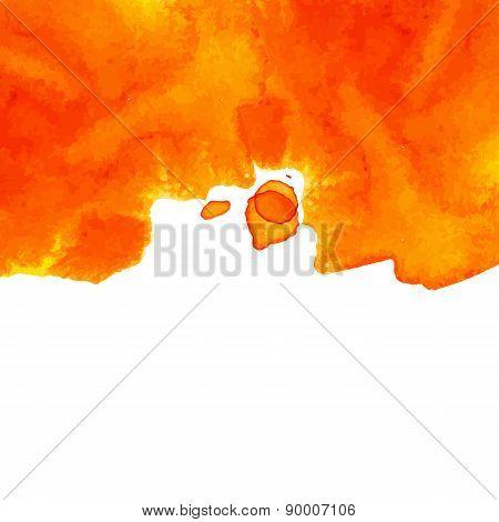 Orange Top Oriented Decorative Watercolor Background