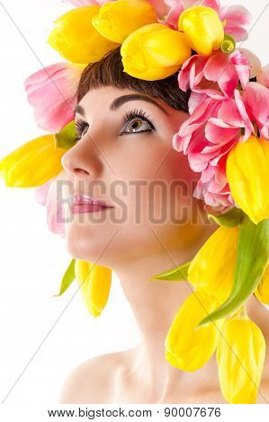 beautiful woman with tulips on the head