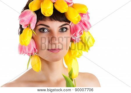 attractive woman with tulips on the head