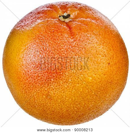 One citrus grapefruit detail close up isolated on white background