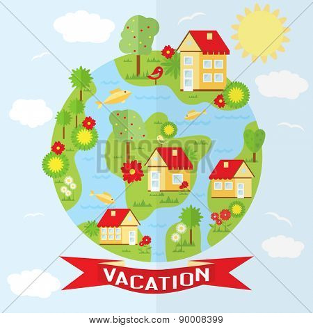 Vector countryside illustration in flat style. Ecological holidays in the countryside in the fresh air.