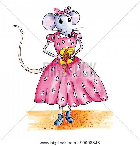 teen mouse with birthday gift