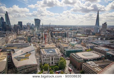 LONDON, UK - AUGUST 9, 2014 London view. City of London one of the leading centres of global finance