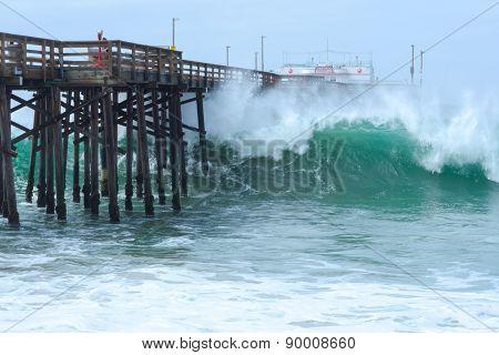 High Surf At Balboa Pier In Newport Beach, California